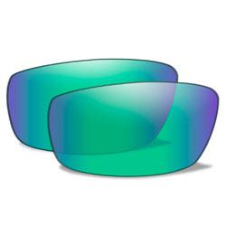 Wiley X Omega Polarized Emerald Mirror Lenses