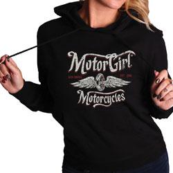 MotorCult Women's Born Free Pullover Black Hoodie