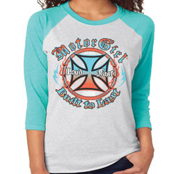 MotorCult Women's Your Turn White/Turquoise Baseball Tee