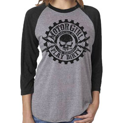 MotorCult Women's Play Dirty Gray/Black Baseball Tee