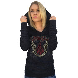 MotorCult Women's No Love Lost Burnout Black Hoodie