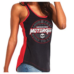 MotorCult Women's Built to Last Black/Red Tank Top