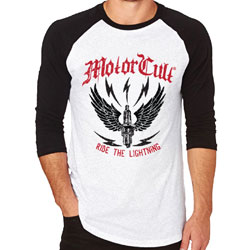 MotorCult Men's Ride the Lightning Black/White Baseball Tee