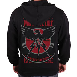 MotorCult Men's Never Say Die Black Full Zip Hoodie
