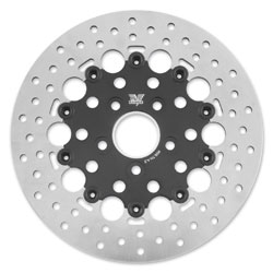 Twin Power Rear Black Floating Round Hole Brake Rotors