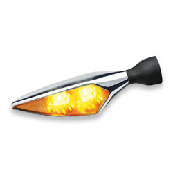 Kuryakyn micro Rhombus Extreme Chrome Amber Front Left/Rear Right Turn Signal
