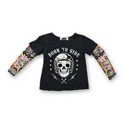 Lethal Threat Toddler Born To Ride Tattoo Sleeve Black Shirt