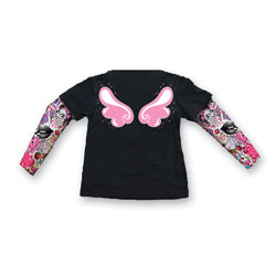 Lethal Threat Toddler Angel Wings Tattoo Sleeve Black Shirt