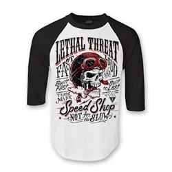 Lethal Threat Men's Not For The Slow White/Black Baseball Tee