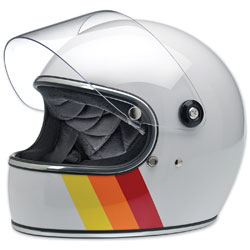 Biltwell Inc. Gringo S White Tri-Stripe Full Face Helmet