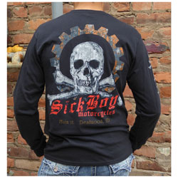 Sick Boy Men's Skull & Gear Black Long-Sleeve T-Shirt