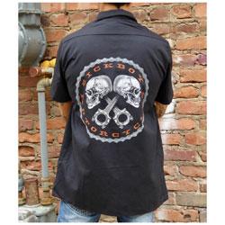 Sick Boy Men's Skull & Gear Black Work Shirt