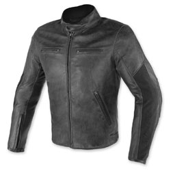 Dainese Men's Stripes D1 Perorated Black Leather Jacket