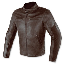 Dainese Men's Stripes D1 Perforated Brown Leather Jacket