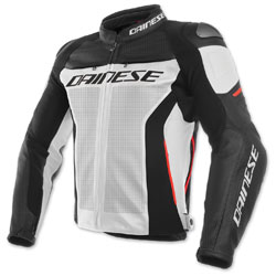 Dainese Men's Racing 3 Perforated White/Black/Red Leather Jacket