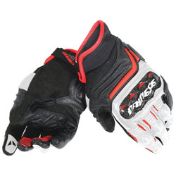 Dainese Men's Carbon D1 Short Black/White/Lava Red Gloves