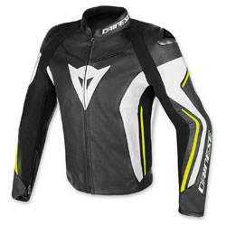 Dainese Men's Assen Perforated Black/Yellow/White Leather Jacket
