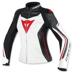 Dainese Women's Assen White/Black/Red Lava Leather Jacket