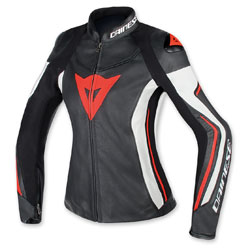 Dainese Women's Assen Black/White/Fluo Red Leather Jacket