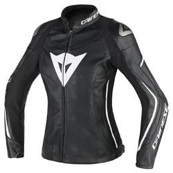 Dainese Women's Assen Black/Black/White Leather Jacket