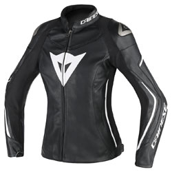 Dainese Women's Assen Black/Black/White Leather Jacket