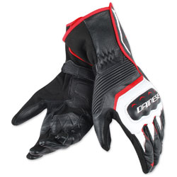 Dainese Men's Assen Black/White/Lava Red Gloves