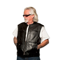 5 Ball Special Ops Black Leather Vest