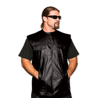 5 Ball Sleeveless Black Leather Jack Shirt