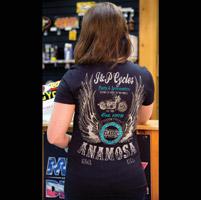 J&P Cycles® Winged Classic Ladies Black T-shirt