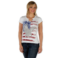 Liberty Wear Eagle Flag Embellished Ladies White T-shirt