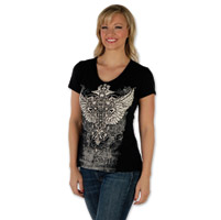 Liberty Wear Vintage Cross Ladies Black V-neck Tee
