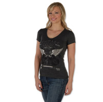 Liberty Wear Vintage Cross Ladies V-neck Dark Gray Tee