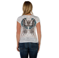 Liberty Wear Butterfly Heart Burnout Ladies White V-neck Tee