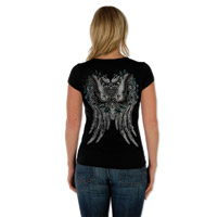 Liberty Wear Butterfly Heart Burnout Ladies Black V-neck Tee