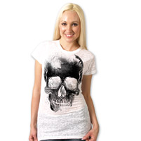 Hot Leathers Faded Skull Ladies Burnout White T-shirt