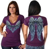 Hot Leathers Blue Angel Ladies Plum V-neck T-shirt