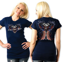 Hot Leathers Live Love Ride Ladies Navy T-s