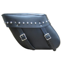 Leatherworks, Inc. Economy Wide Angle Studded Throw-Over Leather Saddlebag