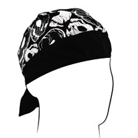ZAN headgear Black and White Distressed Skulls Flydanna Headwrap