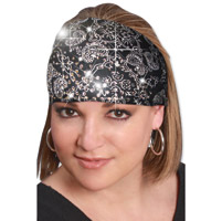 That's A Wrap Bandana Black Knotty Band with Rhinestones