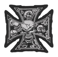 Lethal Threat Iron Cross Gray Large Embroidered Patch