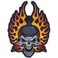 Lethal Threat Flame Helmet Skull Embroidered Patch