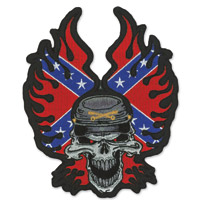 Lethal Threat Rebel Flame Skull Embroidered Patch