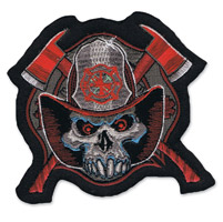 Lethal Threat Fire Man Skull Mini Embroidered Patch