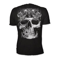 Lethal Threat Men's Biker Skull Black T-shirt