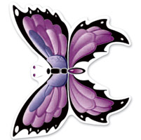 Lethal Threat Rude & Crude Purple Butterfly Mini Decal