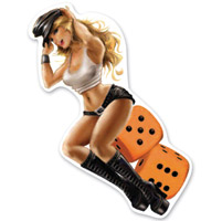 Lethal Threat Rude & Crude Orange Dice Girl Mini Decal