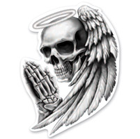 Lethal Threat Rude & Crude Angel Skull Mini Decal