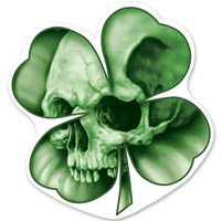 Lethal Threat Rude & Crude Leaf Clover Skull Mini Decal