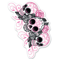 Lethal Threat Rude & Crude Day of the Dead Girl Mini Decal